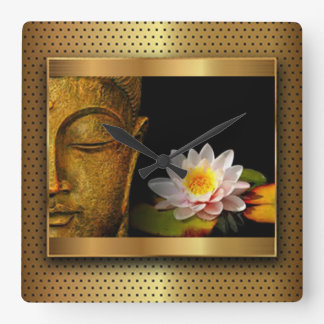 Gold Buddha With Lotus Flower Square Wall Clock