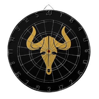 Gold bull with long horns dartboard