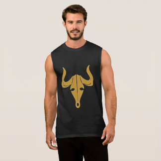 Gold bull with long horns sleeveless shirt