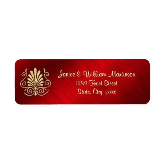 Gold Burgundy Art Deco Party Return Address