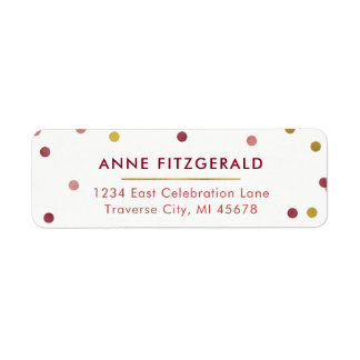 Gold & Burgundy Confetti Return Address Labels
