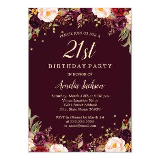 Gold Burgundy Elegant Floral 21st Birthday Party Card