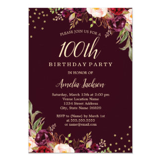Gold Burgundy floral Sparkle 100th Birthday Party Card