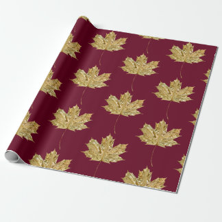 Gold Burgundy MAPLE LEAF Birthday Wedding Party Wrapping Paper