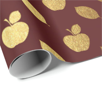 Gold Burgundy Maroon  Metallic Apple Fruits Foil Wrapping Paper
