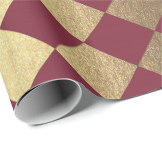 Gold Burgundy Maroon  Metallic Square Chessboard Wrapping Paper