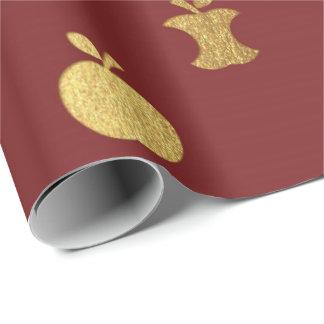 Gold Burgundy Metallic Apple Fruit Crimson Scrap Wrapping Paper