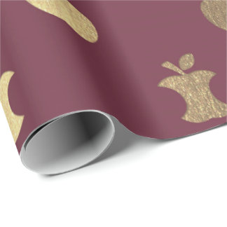 Gold Burgundy Red Foxier Metallic Apple Bordeaux Wrapping Paper