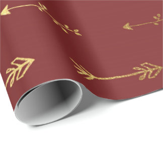 Gold Burgundy Red Wine Metallic Arrows Black Wrapping Paper