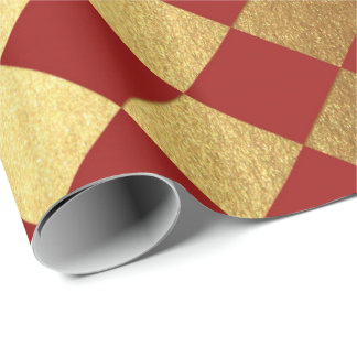 Gold Burgundy Red Wine Metallic Square Chessboard Wrapping Paper