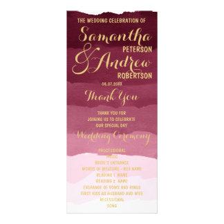 Gold burgundy watercolor ombre Wedding Program