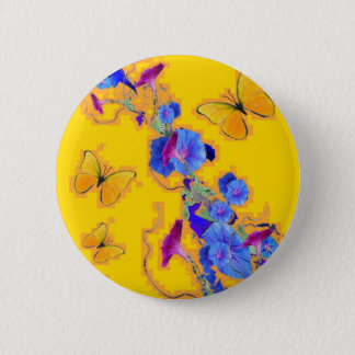 gold Butterflies Blue Morning glories 2 Inch Round Button