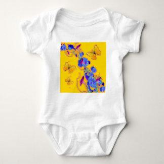 gold Butterflies Blue Morning glories Baby Bodysuit