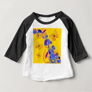 gold Butterflies Blue Morning glories Baby T-Shirt
