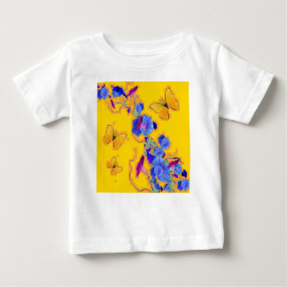 gold Butterflies Blue Morning glories Baby T-Shirt