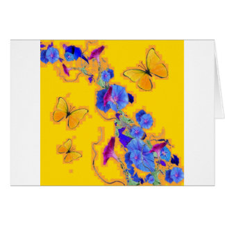 gold Butterflies Blue Morning glories Card