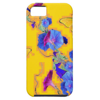 gold Butterflies Blue Morning glories Case For The iPhone 5