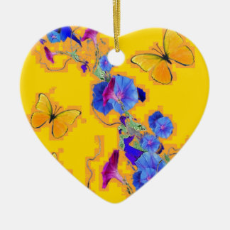 gold Butterflies Blue Morning glories Ceramic Heart Ornament