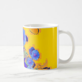 gold Butterflies Blue Morning glories Coffee Mug