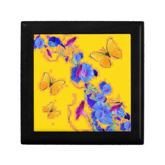 gold Butterflies Blue Morning glories Gift Box