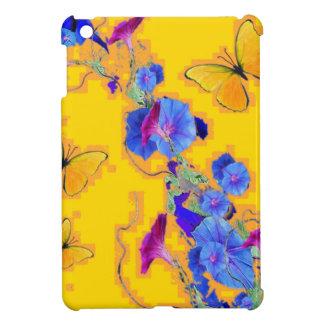 gold Butterflies Blue Morning glories iPad Mini Cover