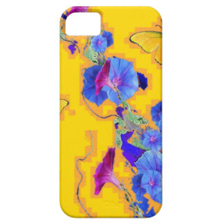 gold Butterflies Blue Morning glories iPhone 5 Cases