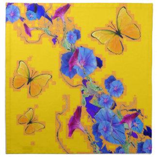 gold Butterflies Blue Morning glories Napkin