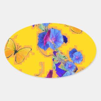 gold Butterflies Blue Morning glories Oval Sticker