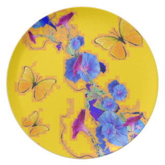 gold Butterflies Blue Morning glories Plate
