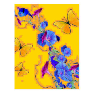 gold Butterflies Blue Morning glories Postcard