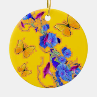 gold Butterflies Blue Morning glories Round Ceramic Ornament