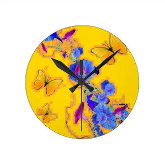 gold Butterflies Blue Morning glories Round Clock