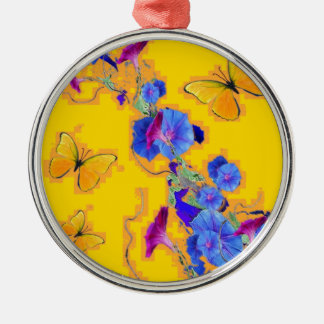 gold Butterflies Blue Morning glories Silver-Colored Round Ornament