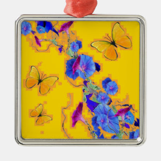 gold Butterflies Blue Morning glories Silver-Colored Square Ornament