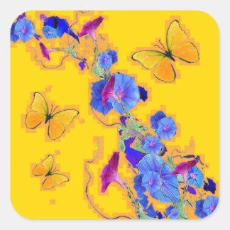 gold Butterflies Blue Morning glories Square Sticker