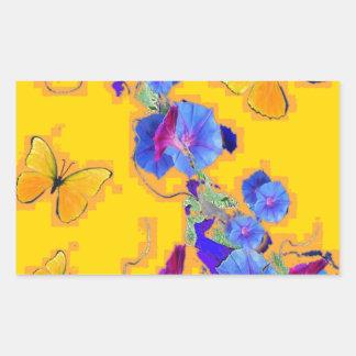 gold Butterflies Blue Morning glories Sticker