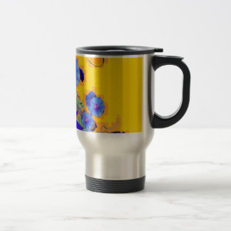 gold Butterflies Blue Morning glories Travel Mug