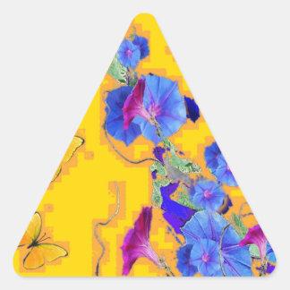 gold Butterflies Blue Morning glories Triangle Sticker