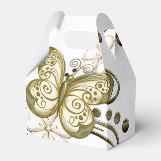Gold Butterflies Floral Favor Box