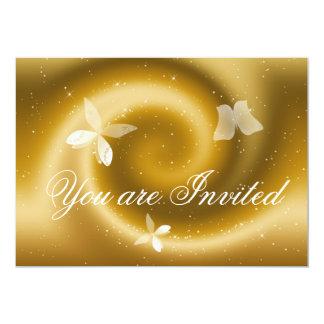 Gold Butterflies Invitation Card