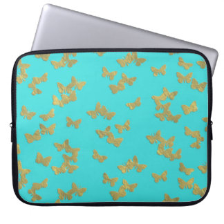 Gold butterflies on aqua backround computer sleeves