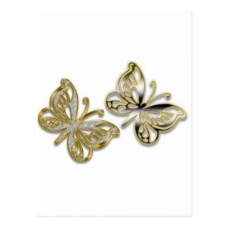 gold butterflies postcard