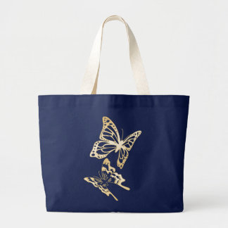 Gold Butterflies Spring Large Tote Bag