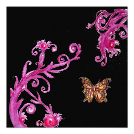 GOLD BUTTERFLY , bright pink black white Personalized Invite