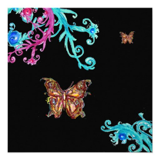 GOLD BUTTERFLY , bright pink  blue black Invitations