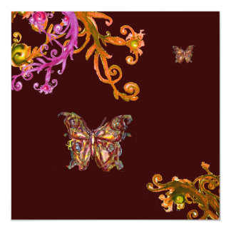 """GOLD BUTTERFLY , bright pink yellow brown 5.25"""" Square Invitation Card"""