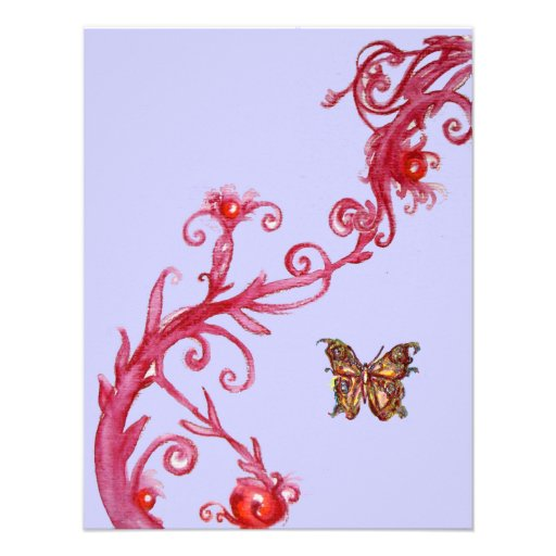 GOLD BUTTERFLY , bright red blue Invites