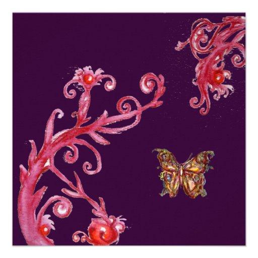 GOLD BUTTERFLY , bright red dark purple Custom Invites