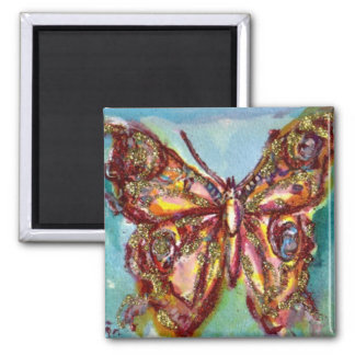 GOLD BUTTERFLY IN BLUE MAGNET
