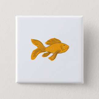 Gold Butterfly Koi Swimming Drawing 2 Inch Square Button